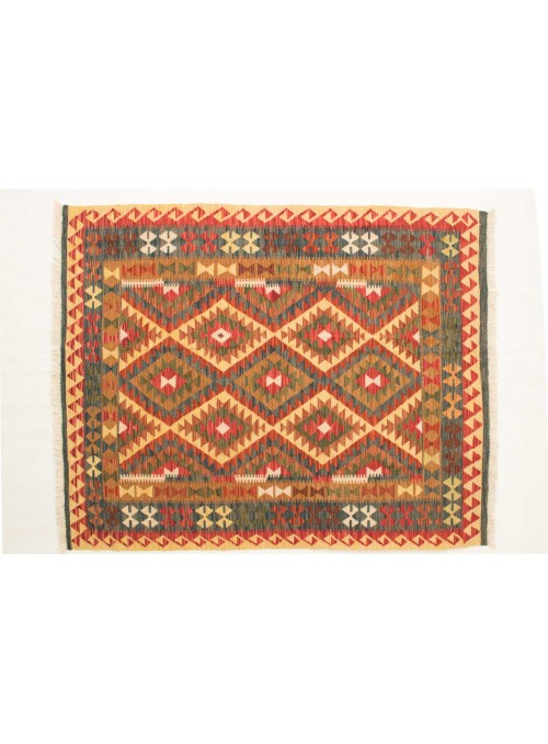 Dywan Kilim Maimana Beżowy 150x190 cm Afganistan - 100% Wełna owcza
