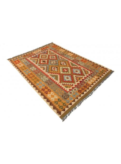 Dywan Kilim Maimana Czerwony 160x210 cm Afganistan - 100% Wełna owcza