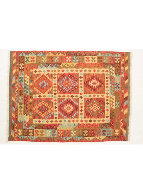 Carpet Kielim Maimana Beige 150x200 cm Afghanistan - 100% Wool