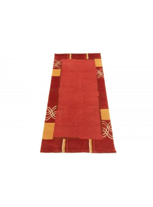 Teppich Nepal Rot 70x140 cm Indien - 100% Schurwolle