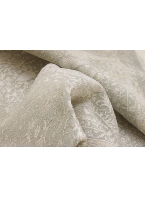 Luxus Orient Teppich Handgeknüpft Iran Tabriz 200x300cm Wole mit Seide grau