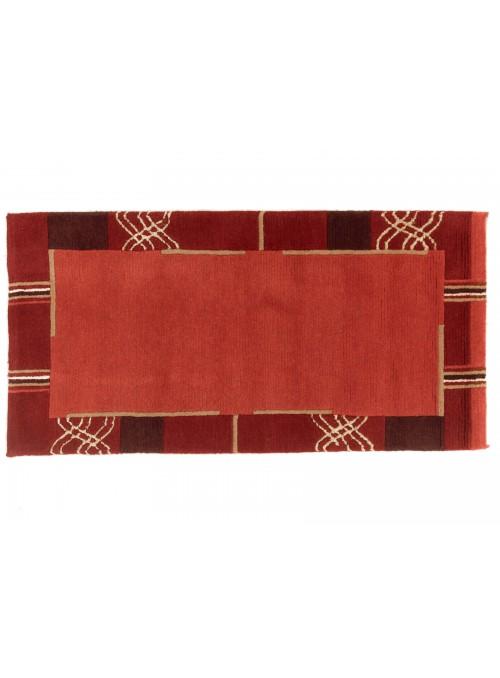 Teppich Nepal Rot 80x140 cm Indien - 100% Schurwolle