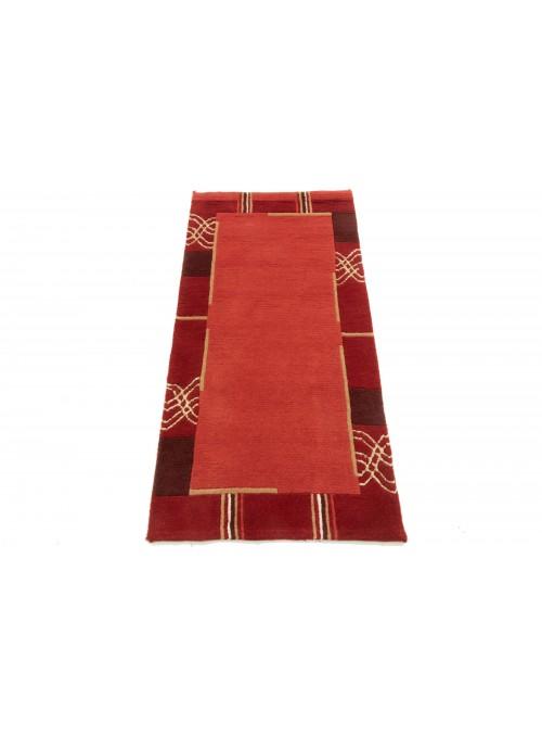 Dywan Nepal Czerwony 80x140 cm Indie - 100% Wełna owcza
