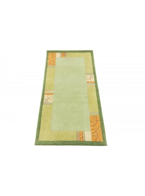 Teppich Nepal Grün 80x150 cm Indien - 100% Schurwolle