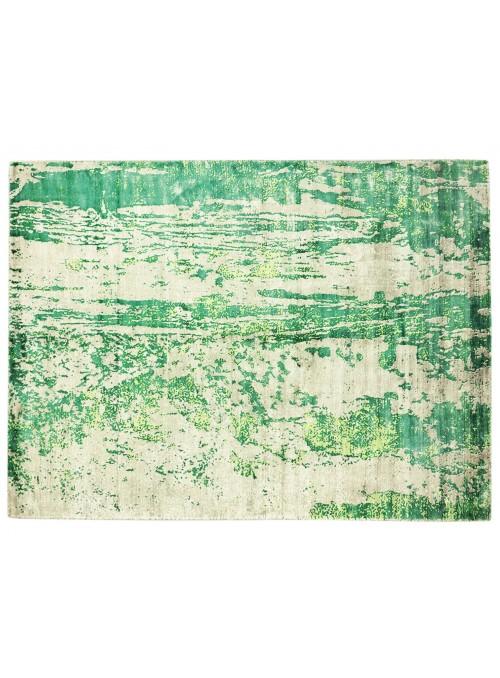 Carpet Handloom Print Green 160x230 cm India - 100% Viscose