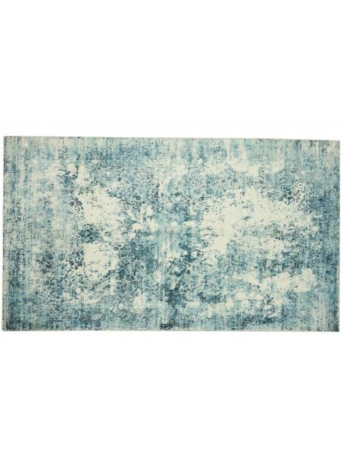 Carpet Handloom Print Blue 150x230 cm India - 100% Viscose