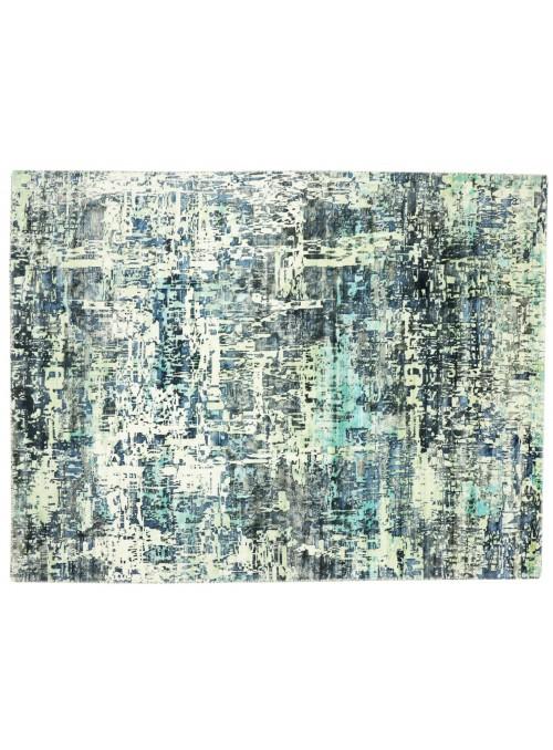 Carpet Handloom Print Blue 160x220 cm India - 100% Viscose