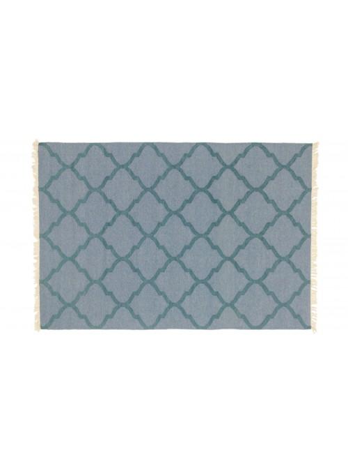 Dywan Wytrzymały Niebieski 170x240 cm Indie - Wełna, bawełna