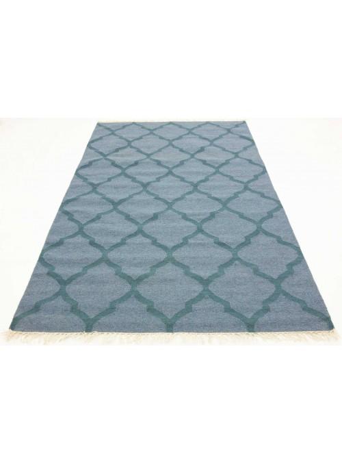 Teppich Durrie Blau 170x240 cm Indien - Wolle, Baumwolle