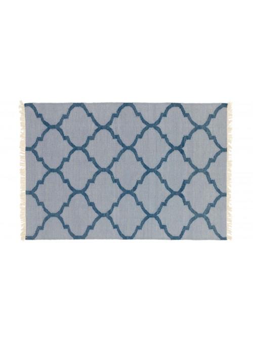Dywan Wytrzymały Niebieski 120x180 cm Indie - Wełna, bawełna