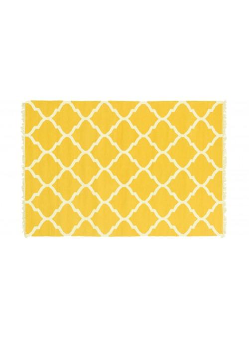 Dywan Wytrzymały Żółty 120x180 cm Indie - Wełna, bawełna