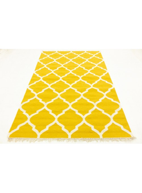 Carpet Durable Yellow 120x180 cm India - Wool, Cotton