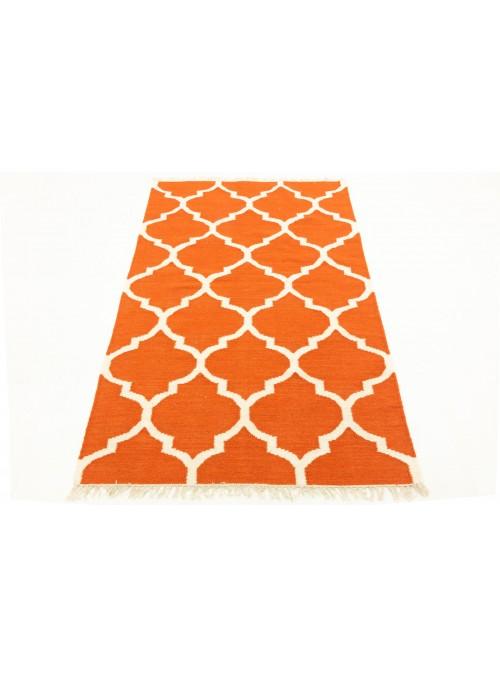 Teppich Durrie Orange 170x240 cm Indien - Wolle, Baumwolle