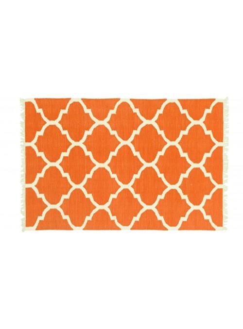 Dywan Wytrzymały Pomarańczowy 120x180 cm Indie - Wełna, bawełna