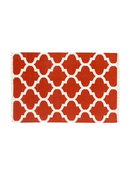 Dywan Wytrzymały Czerwony 120x180 cm Indie - Wełna, bawełna