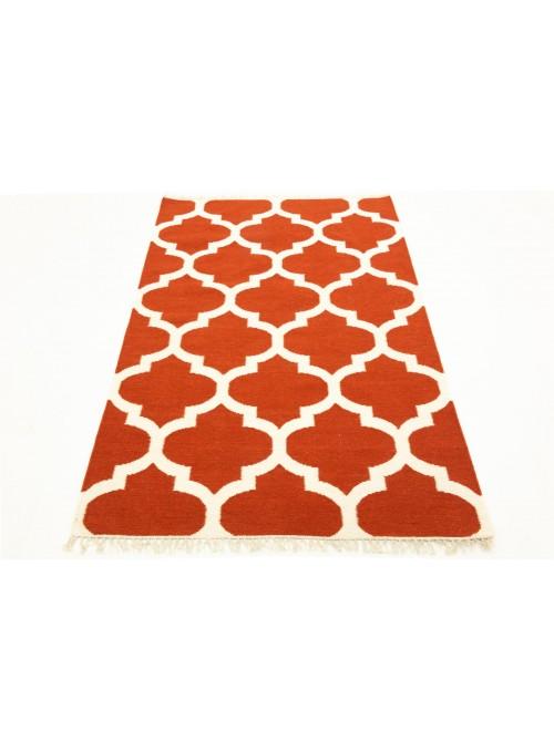 Dywan Wytrzymały Czerwony 160x230 cm Indie - Wełna, bawełna
