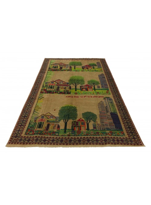 Carpet Baluch landscape signature master Beige 200x290 cm Afghanistan - 100% Wool