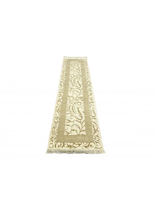 Teppich Asman Weiss 80x300 cm Indien - 95% Schurwolle 5% Acryl