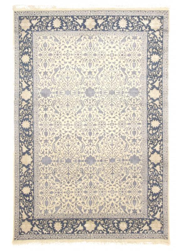 Inteligentny Ręcznie tkany dywan z wełny i jedwabiu Tabriz Iran beżowy szary 2x3m CZ72