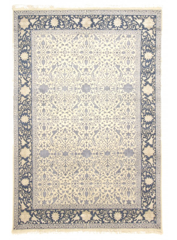 Luxury hand made carpet Tabriz 245x350cm wool and silk beige/grey