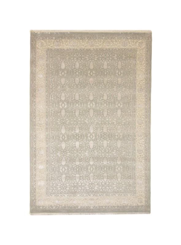 Inteligentny Ręcznie tkany dywan z wełny i jedwabiu Tabriz Iran beżowy szary 2x3m BC79