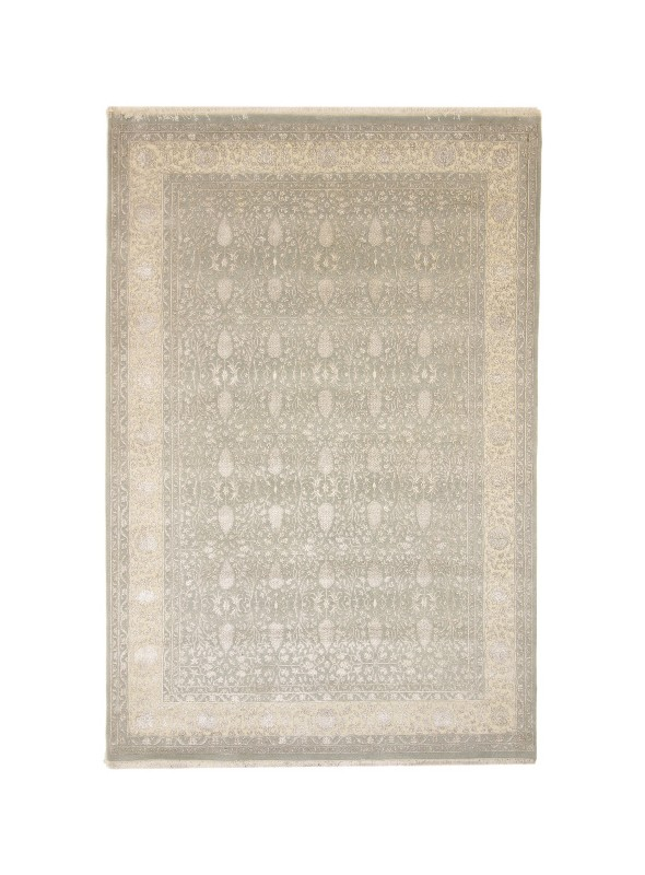 Luxury hand made carpet Tabriz 245x350cm wool and silk grey