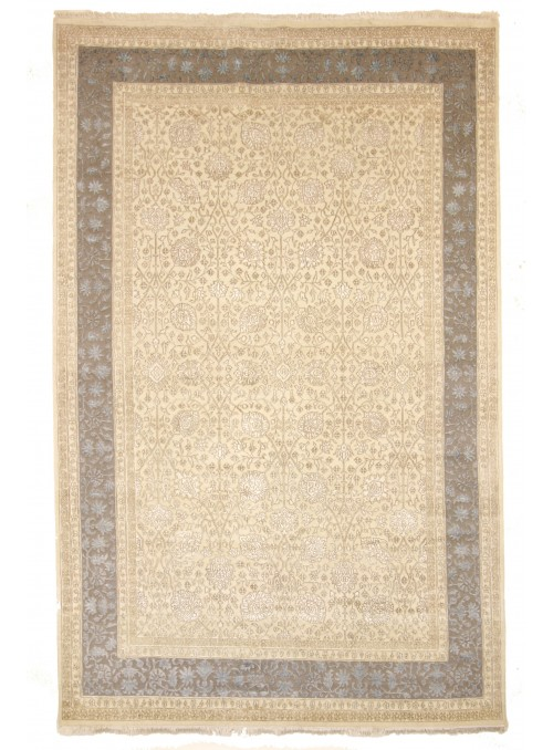 Luxury hand made carpet Tabriz 245x350cm wool and silk cream/grey