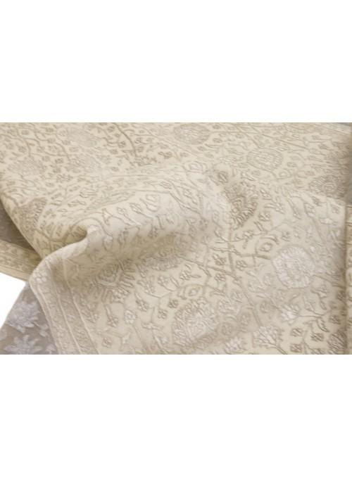 Luxus Orient Teppich Handgeknüpft Iran Tabriz 200x300cm Wole mit Seide cream/grau