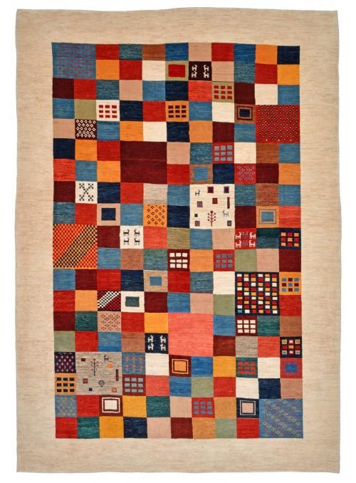 Ręcznie tkany dywan Loribaft Gabbeh Iran 100% wełna ok 250x350cm patchwork