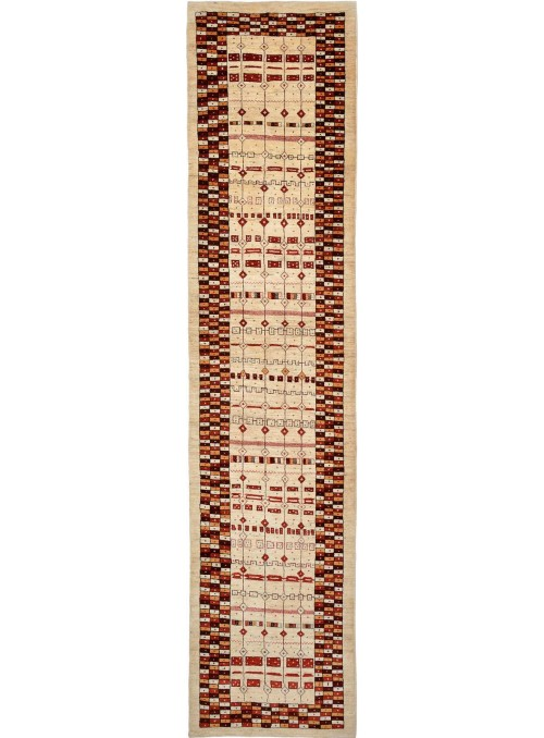 Ręcznie tkany dywan Loribaft Gabbeh Iran 100% wełna ok 90x400cm chodnik