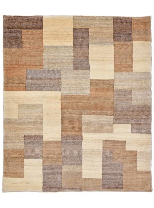 Ręcznie tkany galeryjny dywan perski Gabbeh Loribaft Iran 120x150cm wełna beż brąz