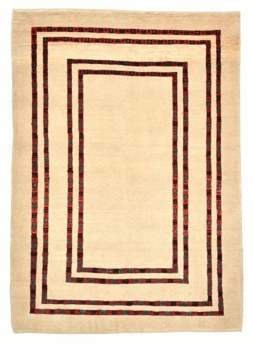 Ręcznie tkany galeryjny dywan perski Gabbeh Loribaft Iran 130x180cm wełna beżowy