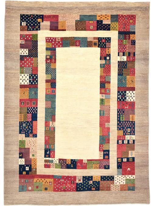 Ręcznie tkany galeryjny dywan perski Gabbeh Loribaft Iran 200x300cm wełna kolorowy