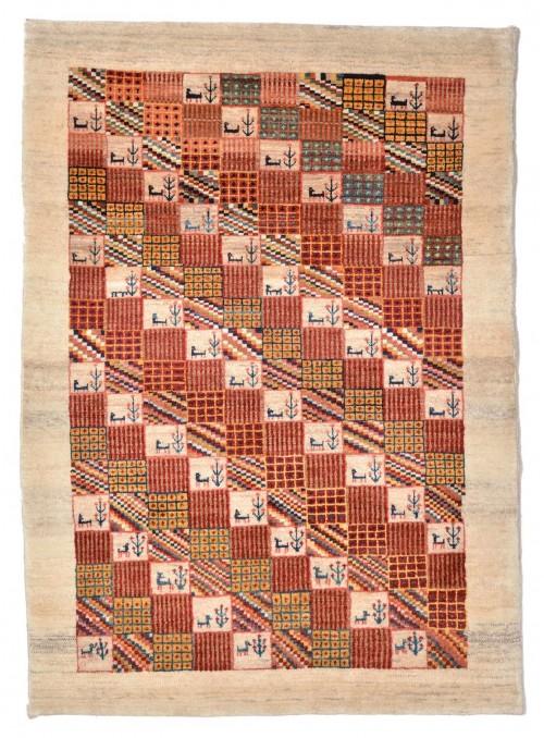 Ręcznie tkany galeryjny dywan perski Gabbeh Loribaft Iran 100x150cm wełna patchwork