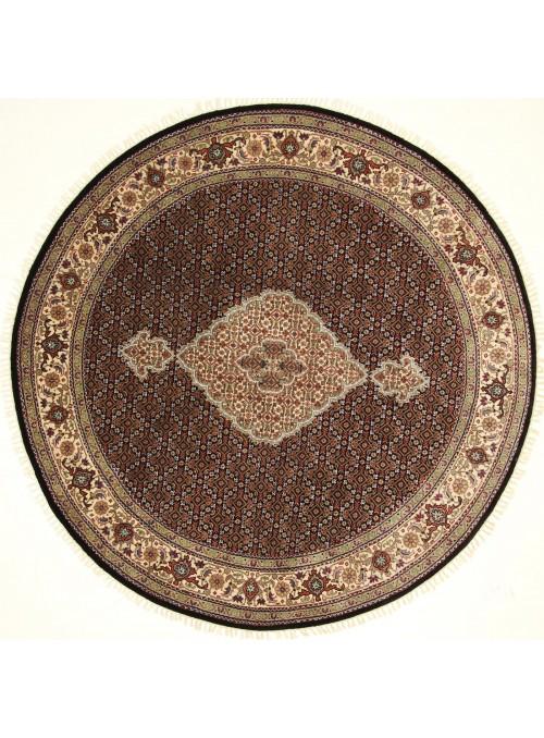 Orient Teppich handgeknüpft Iran Tabriz Mahi 200x200cm Wole/Seide rund