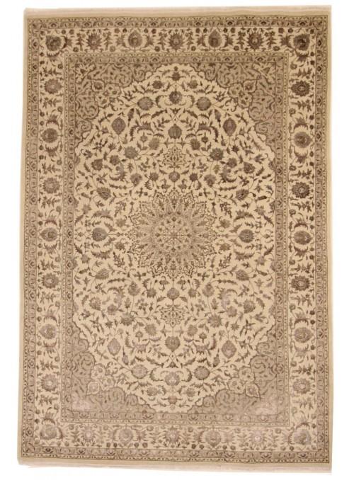 Luxus Orient Teppich Handgeknüpft Iran Tabriz 200x300cm Wole mit Seide beige/braun